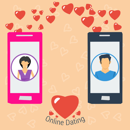 pastel like: Vector Online Dating Love Concept. Girl and boy use modern technology to develop relations. Line of hearts from one smartphone to another in flat style Illustration