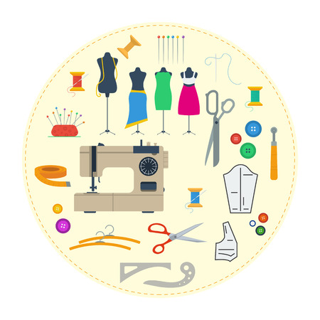 Vector round concept sewing equipment. Handicraft tools and sewing kit, needle, sewing machine in flat style