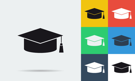 student life: Vector colored and monochrome student cap icon in flat style. Use for concept distance online education, e-learning in internet and students life