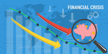 exchange loss: Vector business concept of financial crisis. Web banner. Concept analytics, earnings growth. Schedule growth and arrows plummets down and broken piggy bank in flat style