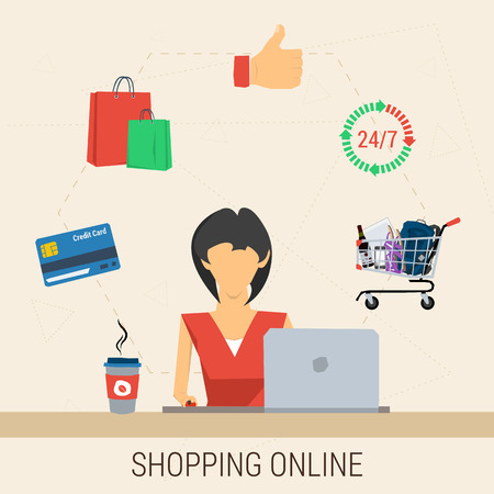 internet sale: Vector concept shopping online. Woman with laptop shopping online. Cup of coffee, cart contents, credit card, shopping bags and like hand in flat style. Web infographics