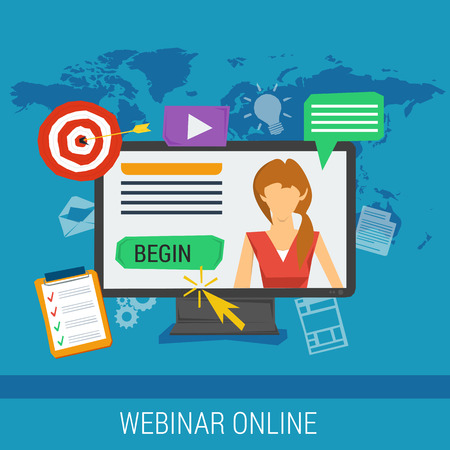 lectures: Vector concept online webinar, e-learning, professional lectures in internet, online education. Woman on computer monitor with different web elements around in flat style on blue background Illustration