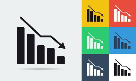 topics: Vector colored and monochrome finance crisis icon in flat style. Use for business and financial topics