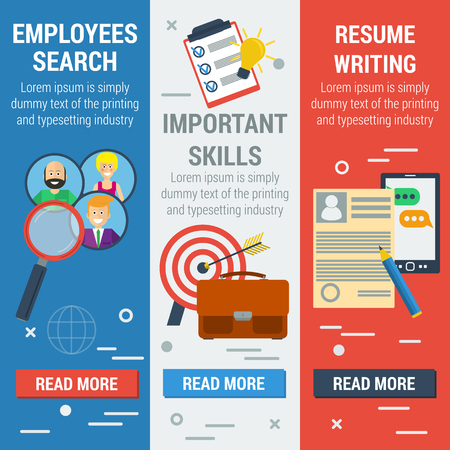 describing: Vector flat vertical banners employee search. List candidates to work with photos and skills description. Zoom magnifying glass picking business person with list of requirements. Web infographics