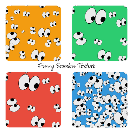 night vision: Set of four seamless funny eyes patterns with different colored backgrounds Illustration