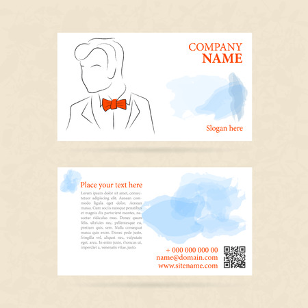 and the horizontal man: Vector template two side horizontal business card man in orange bow tie