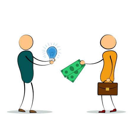Vector cartoon illustration of two men with idea lamp and money fee for it. Concept of successful employee, good idea, value proposition