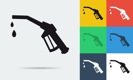 refueling: colored and monochrome refueling nozzle icon in flat style. Illustration