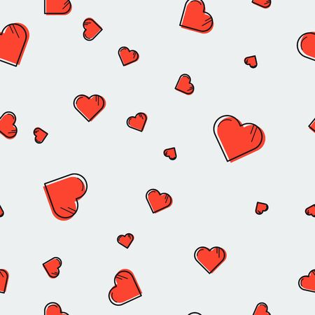 lineart: seamless pattern with red lineart hearts scattered on grey background