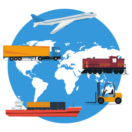 round concept of logistics transportation. Aircraft, truck, cargo ship, forklift, railway transport on globe planet map background in flat style