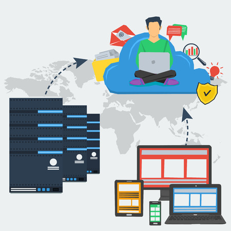 concept cloud storage and using server in internet. Various data in cloud storage with easy access to any device and server technology in flat style