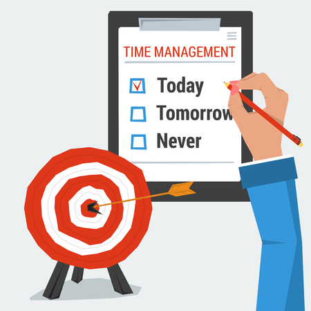 succes: Hand with list to do. Concept time management. Checkbox is marked today. Target goal with arrow in the center. Illustration