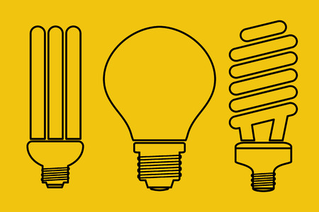 economical: illustration of three thin line art lamp icons. Set for LED equipment. Ordinary incandescent, fluorescent and economical buib lamps on yellow background