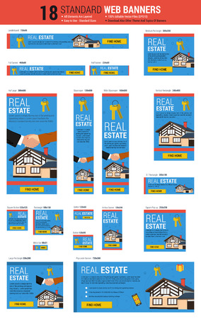 real state: template of eighteen web standard size banners. Real state agency concept. All the most common size, each banner layered. Easily editable Illustration