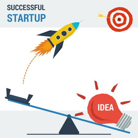 Business successful startup concept. illustration in flat style. Cartoon rocket flies up to the goal a nickel lamp business idea.