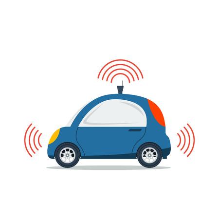 흰색으로 격리하는자가 운전 차. 파란색 작은 자치 드라이버리스 택시. 평면 스타일의 미래 기술