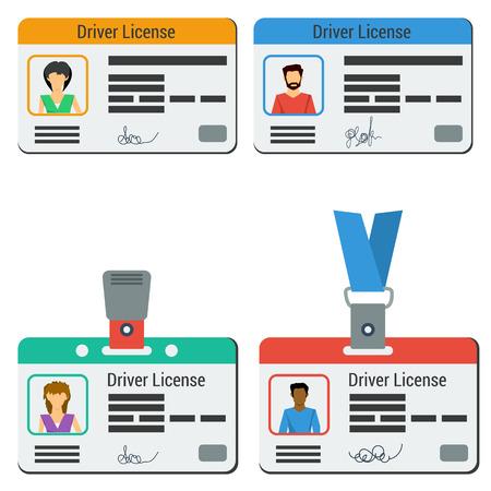 Vier farbige Autofahrer-Lizenz. Männer und eine Frau, Plastikkarten mit Foto-ID und in Abzeichen oder Lanyard in flachen Stil auf weiß isoliert