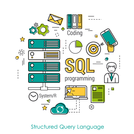 sql: Line Art Concept of Structured Query Language -SQL. Round banner for web resources and programming