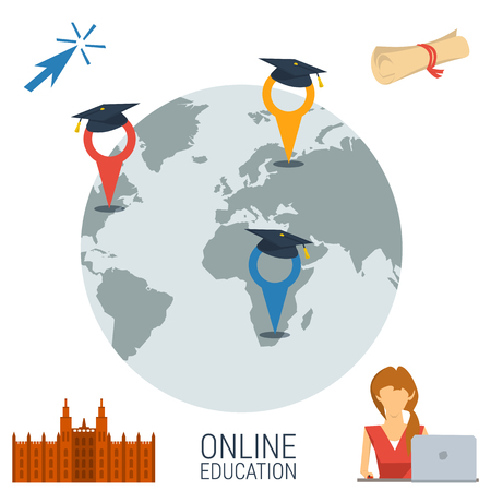 locations: concept online education. Globe with three pointers education locations in world. Four icons in corners - diploma, studying girl student with computer and university building in flat style Illustration