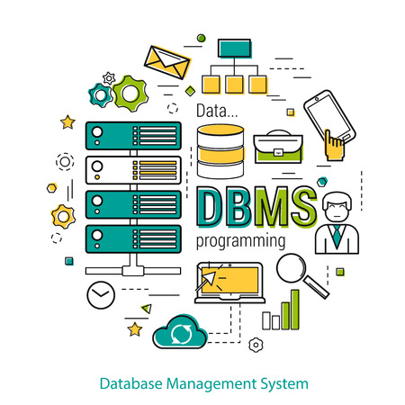 general manager: Line Art Concept of Database Management Systemt - DBMS. Round banner for web resources and programming. Server elements Illustration