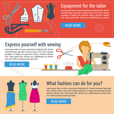 tailoring: three horizontal web banners of concept sewing equipment and tailoring items in flat style. Woman with sewing machine and mannequins