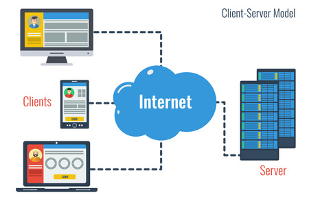 data storage device: concept client server model and safe cloud storage in internet. Various data of different users in cloud storage with easy access to any device technology in flat style
