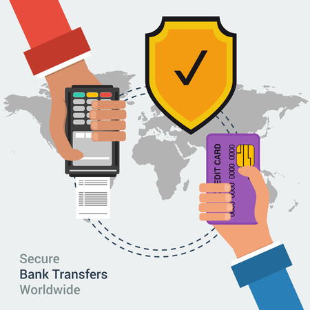 safe payment: Flat design concept of secure bank transfers worldwide or mobile payment banking online. Two hands with credit card and atm terminal on background map of the world with safe yellow shield