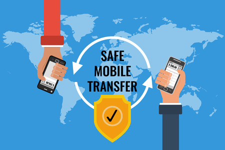 quick money: flat design concept of safe mobile money transfer. Two hands with mobile on a background map of the world. Use for online banking and mobile quick payment