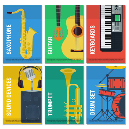 school kit: template six vertical with musical instruments with their names on colored cards. Saxophone and guitar. Keyboards and trumpet. Microphone with headphones and a drum set in flat style