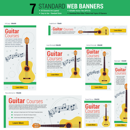 web courses: template of seven web standard size banners on theme guitar courses. Most common sizes of banners