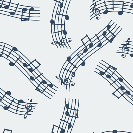 songs: seamless musical pattern with sheet music for songs on grey background