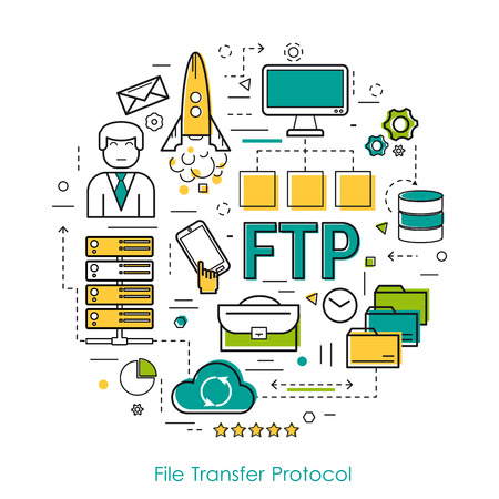 ftp: Round Concept of File Transfer Protocol - FTP. Line Art Infographic on white background