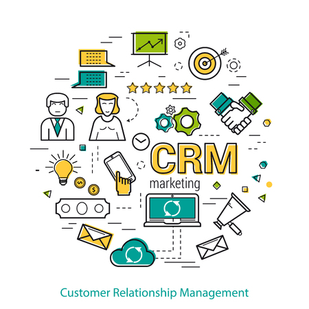 고객 관계 관리의 원형 개념 - CRM. 흰색 배경에 라인 아트 인포 그래픽