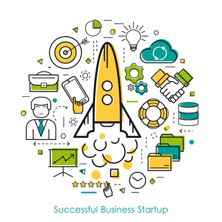 rises: round concept of business start up or company speed growth in thin line style. The rocket rises, businessman,goal and idea icons