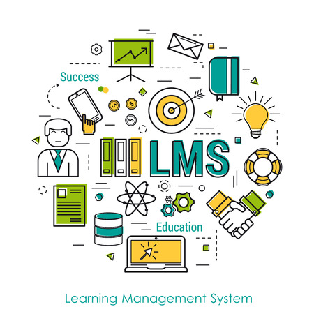 computer system: Round Concept of Learning Management System - LMS. Line Art Infographic on white background