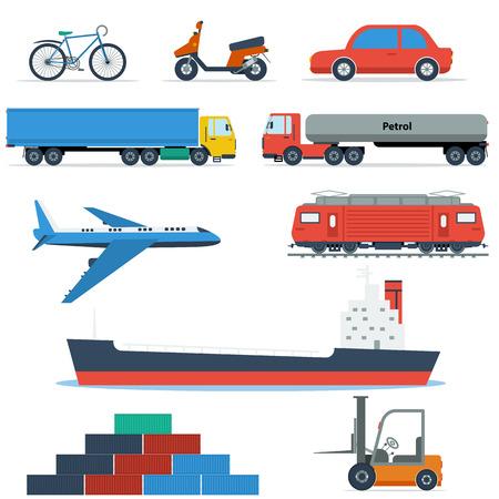 planos electricos: vehículos de transporte planos aislados en blanco. Iconos para la entrega, el transporte y la logística concepto. Avión, dos tipos de carros, buque de carga, locomotora, bicicletas y scooters Vectores
