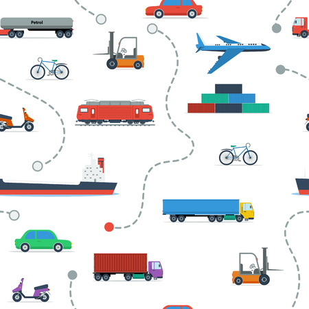 routing: seamless technical pattern with various transport vehicles and routing lines in flat style
