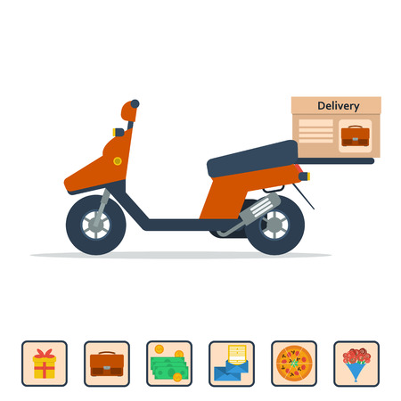 valuable: isolated scooter with a box on the trunk to deliver various goods. Concept of service for pizza delivery, documents, flowers, valuable things, gifts, mail. Illustration in flat style Illustration