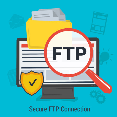 concept secure FTP connection for data protection and safe work in internet. Magnifier, antivirus shield and file folder on computer monitor. Square web banner in flat style