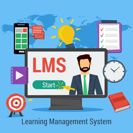 Square Concept of Learning Management System - LMS. Man on computer monitor, elements for distance education, clock, book in flat style on map background