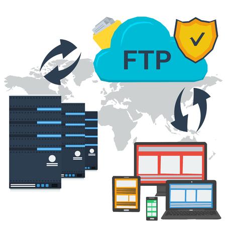 개념 인터넷 FTP 서버 및 온라인 클라우드 스토리지 및 다양한 장치로 개인 데이터에 쉽게 액세스 할 수 있습니다. 플랫 스타일의 웹 인포 그래픽 또는  일러스트