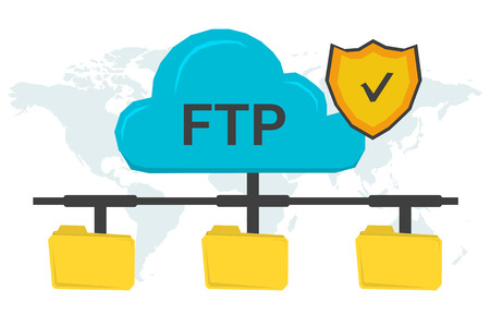 ftp: concept secure FTP connection. Online cloud with antivirus shield and three yellow file folders connected with it on world map background in flat style