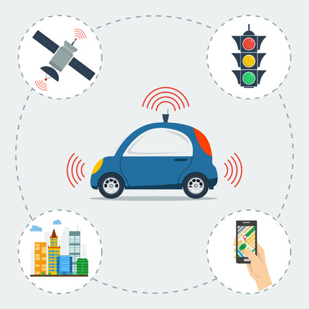 infographic of self driving car. Blue small autonomous driverless machine with icons of traffic light, city, satellite and smart phone app. Future technologies in flat style Illustration