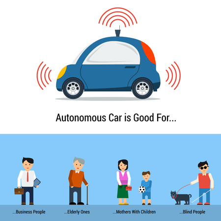categories: Infographic of Self Driving Car Isolated on White. Four categories of people who are convenient to use autonomous driverless machine - business people, mothers, elderly and blind persons Illustration