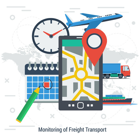 tracking: square concept of monitoring freight transport. Tracking of cargo during shipping. Smartphone with location place of load, clock, calendar and type of transportation on world map background