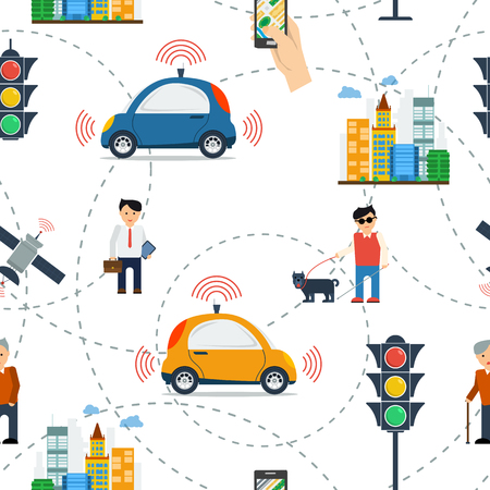Vector seamless pattern with elements of traffic and autonomous car on white background