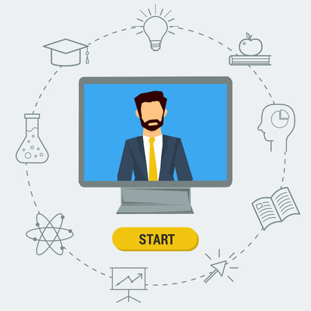 lectures: Vector concept online webinar, e-learning, professional lectures in internet, online education. Lecturer on computer monitor with different web elements around. Flat style. Web infographics