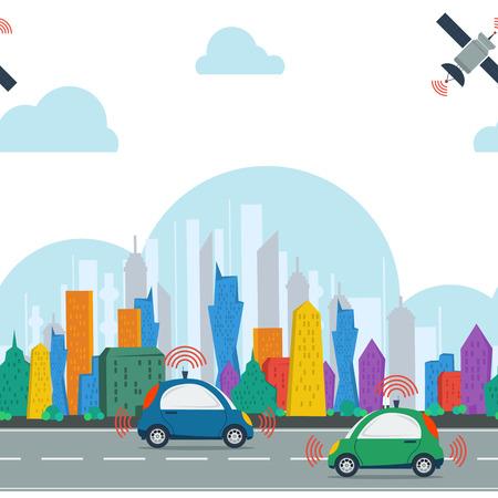 낮 위성 제어와 도시의 자율적 인 자동차 벡터 수평 일광 원활한 패턴입니다. 색깔 거대 도시의 도로에 두자가 운전 자동차 일러스트