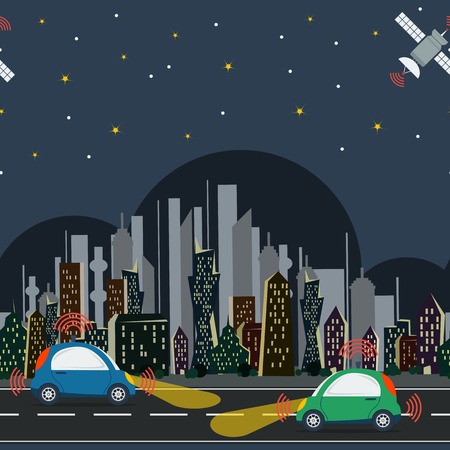 self control: Vector horisontal seamless pattern with autonomous cars in the city with satellite control at night time. Two self driving cars on the road in colored megalopolis Illustration
