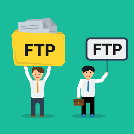 Vector flat businessmen with FTP sign in hand and with document folder. Concept of File Transfer Protocol